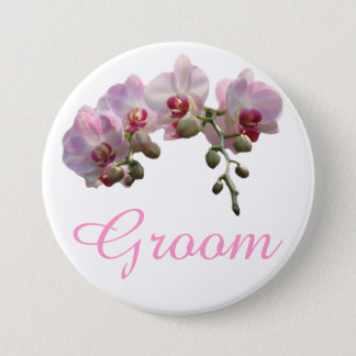 pretty pink orchid flowers groom wedding button