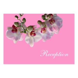 pretty pink orchid flowers pink wedding reception business card template