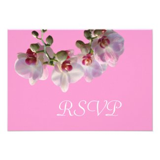 pretty pink orchid flowers pink wedding RSVP Invitations