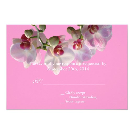 pretty pink orchid flowers pink wedding RSVP Announcements