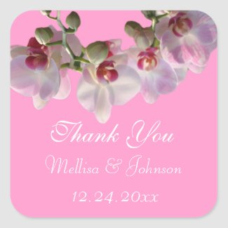 pretty pink orchid flowers wedding favor thank you square sticker