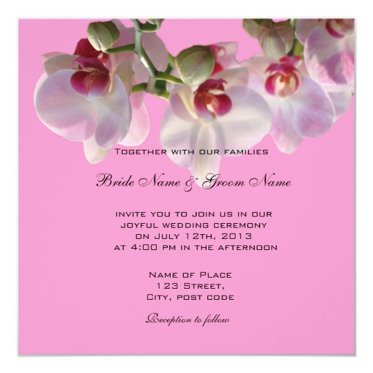 Pretty pink orchid flowers wedding invitations