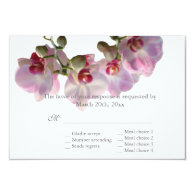 pretty pink orchid flowers  wedding RSVP Custom Announcements
