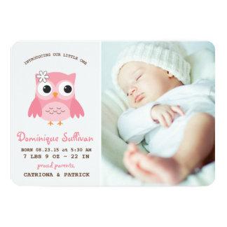Pretty Pink Owl Photo Birth Announcement