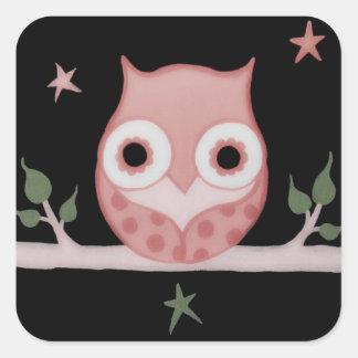 Pretty Pink Owl Square Stickers