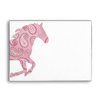 Pretty Pink Paisley Horse Envelope