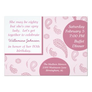 "Pretty pink Paisley Invitation 5"" X 7"" Invitation Card"