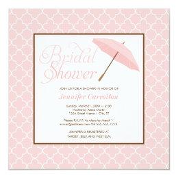 Pretty Pink Parasol Bridal Shower Invitation