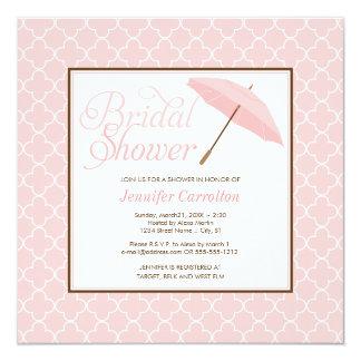"""Pretty Pink Parasol Bridal Shower Invitation 5.25"""" Square Invitation Card"""