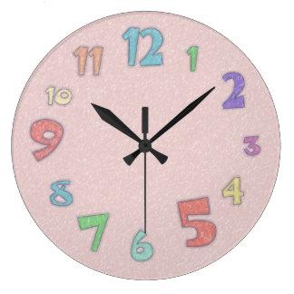 Pretty Pink Pastel Large Clock