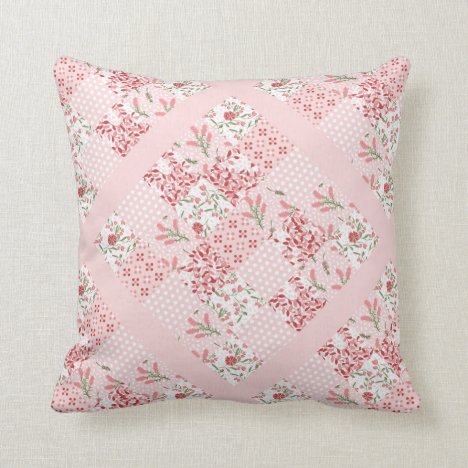 Pretty pink patchwork throw pillow