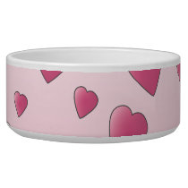 Pretty Pink Pattern of Love Hearts. Bowl