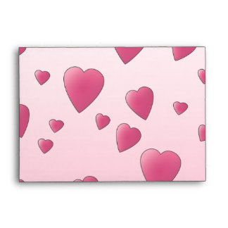 Pretty Pink Pattern of Love Hearts. Envelopes