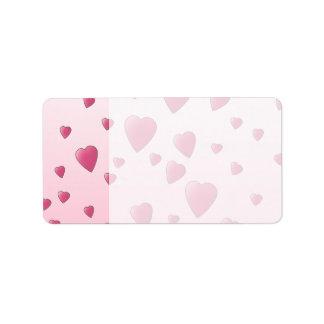 Pretty Pink Pattern of Love Hearts Address Label
