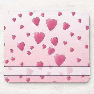 Pretty Pink Pattern of Love Hearts Mousepad