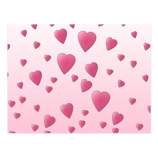 Pretty Pink Pattern of Love Hearts. Postcard