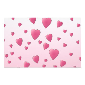 Pretty Pink Pattern of Love Hearts. Stationery