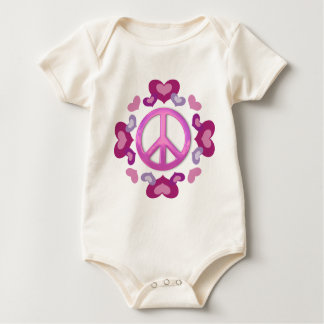 Pretty Pink Peace Sign and Hearts Baby Bodysuit