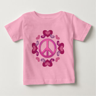 Pretty Pink Peace Sign and Hearts Baby T-Shirt