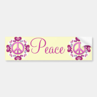 Pretty Pink Peace Sign and Hearts Car Bumper Sticker
