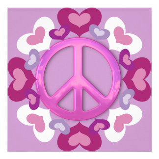 Pretty Pink Peace Sign and Hearts Invitations