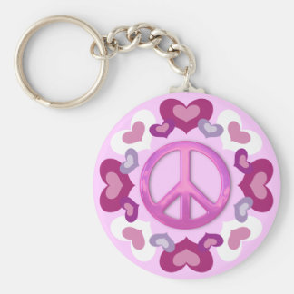 Pretty Pink Peace Sign and Hearts Keychain