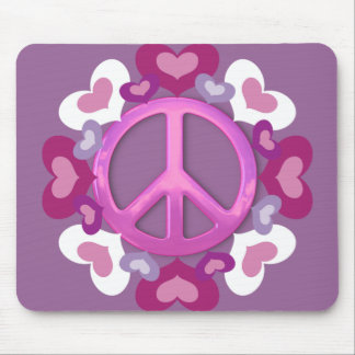 Pretty Pink Peace Sign and Hearts Mouse Pad