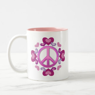 Pretty Pink Peace Sign and Hearts Two-Tone Coffee Mug