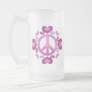 Pretty Pink Peace Sign and Hearts 16 Oz Frosted Glass Beer Mug