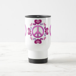 Pretty Pink Peace Sign and Hearts 15 Oz Stainless Steel Travel Mug