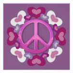 Pretty Pink Peace Sign and Hearts Print