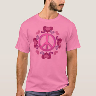 Pretty Pink Peace Sign and Hearts T-Shirt