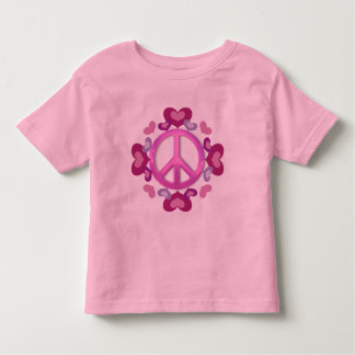 Pretty Pink Peace Sign and Hearts Toddler T-shirt