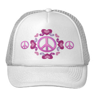 Pretty Pink Peace Sign and Hearts Trucker Hat