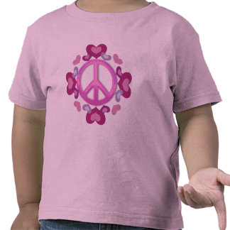 Pretty Pink Peace Sign and Hearts Tshirt