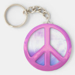 Pretty Pink Peace Sign Basic Round Button Keychain