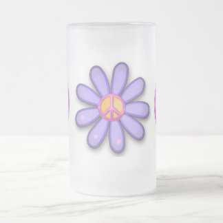 Pretty Pink Peace Sign 16 Oz Frosted Glass Beer Mug