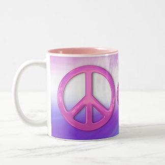 Pretty Pink Peace Sign Two-Tone Coffee Mug