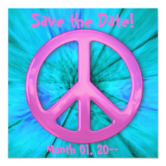 Pretty Pink Peace Sign Over Blue Abstract Explosio Card