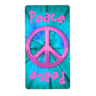 Pretty Pink Peace Sign Over Blue Abstract Explosio Shipping Label