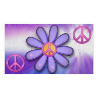 Pretty Pink Peace Sign Poster