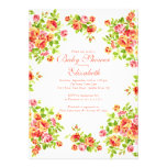 Pretty Pink Peach Rose Floral BabyShower Personalized Invitation