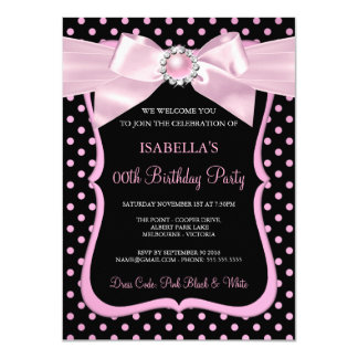 Pretty Pink Pearl Bow Black Polka Dot Birthday Card