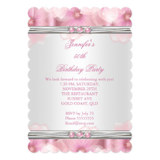 Pretty Pink Pearl White Flowers Birthday Party 2 Card