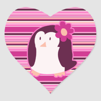 Pretty Pink Penguin Heart Sticker