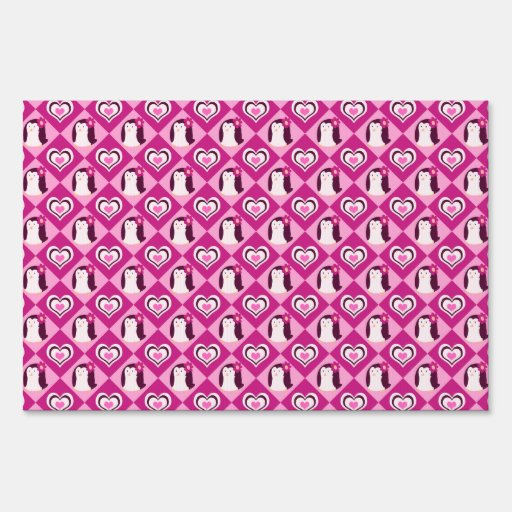 Pretty Pink Penguin Pattern Sign