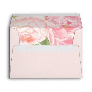 Pretty Pink Peonies A7 Wedding Envelopes