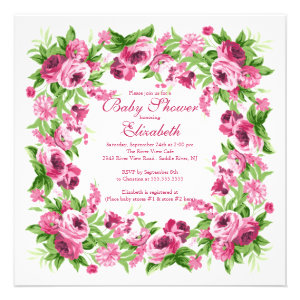 Pretty Pink Peonies Floral Girl Baby Shower Custom Invites