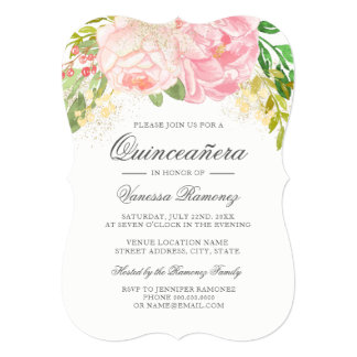 Pretty Pink Peonies Quinceañera Invitation