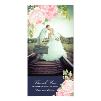 Pretty Pink Peonies Thank You Photo Card (4x8)